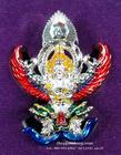 พญาครุฑ มหาเดช(1) รุ่นแรก วัดอรุณราชวราราม (วัดแจ้ง) กรุงเทพฯ เนื้อชุบเงิน ลงยาแดง ปี 2560