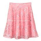 กระโปรงแฟชั่น กระโปรงทรงบาน Lace Flare Skirt ผ้าลูกไม้บุหงาฝรั่งเศส ลายดอกไม้ สี Peach
