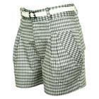 กางเกงขาสั้นแฟชั่น Pleat-Front Shorts Pants ผ้าคอตต้อนญี่ปุ่นพิมพ์ลายสี่เหลียมกราฟฟิกสีดำ-ขาว (ไม่รวมเข็มขัด) งานตัดเย็บคุณภาพ