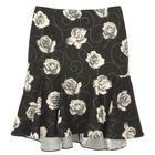 กระโปรงแฟชั่น กระโปรงทำงาน Graphic Print Hi Lo Tulip Skirt ผ้าคอตต้อนญี่ปุ่นพิมพ์ลายดอกกุหลาบขาวพื้นดำ