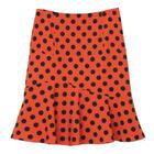 กระโปรงแฟชั่น-ทำงาน Wave Mermaid Skirt ผ้าไหมอิตาลีสีส้มพิมพ์ลาย Polka Dot จุดดำ