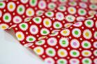 ผ้าคอตตอนไทยลายดอกดาวกระจาย พื้นสีแดง ขนาด 1/4 ซม.