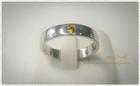 SR0009 แหวนเงินชุบทองคำขาวเกลี้ยงฝังบุษราคัม