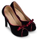 [พร้อมส่ง] ไซส์ 38 40 รองเท้าส้นสูง สูง 4 นิ้ว สีดำ กุ๋นและโบว์สีแดง