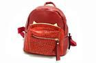 GB-83216-สีแดง-ราคาส่ง210ปลีก310บาท-กระเป๋าเป้นำเข้าไซร์8นิ้ว-ตัดเย็บสลับหนังจระเข้แต่งอะไหล่เหล็กรูปหูแมว