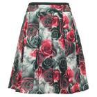 กระโปรงแฟชั่น กระโปรงทำงาน ผ้าพิมพ์ลายดอกกุหลาบสีดำแดง ขอบเอวแต่งด้วยผ้าสีน้ำตาล ตัวกระโปรงจับจีบทวิสรอบตัว ผ้าสวยใส่สบาย {งานตัดเย็บคุณภาพ}