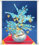 ต้นไม้มงคลประดิษฐ์ ลูกปัดคริสตัล(อะครีลิค)สีฟ้าในก