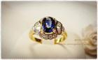 GR0017 แหวนทองไพลินล้อมเพชร