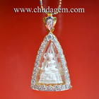 พระพุทธชินราชเงิน ใส่กรอบทองฝังเพชร