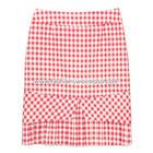 กระโปรงแฟชั่นทรงสอบ Hepburn Skirt ผ้าคอตต้อนลินินญี่ปุ่น ลายสก๊อต โทนแดง ชายเป็นแบบกระโปรงจับจีบ