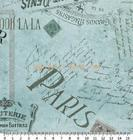 ผ้าคอตตอนอเมริกา Ooh La-La Carte Postale Blue