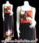 แฟชั่นเสื้อผ้า ชุดเดรส แม็กซี่เดรส Maxi Dress ชุดเดรสเกาหลี ดีไซน์เก๋ ด้วยการตกแต่งผ้าลายดอกช่วงอก ตัดต่อผ้าสีส้มอิฐทางด้านหลัง (ดูไซส์ คลิ๊กค่ะ)