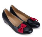 [พร้อมส่ง] ไซส์ 36 40 รองเท้าแฟลช สีดำ ติดโบว์สีแดง ทรงโลฟเฟอร์