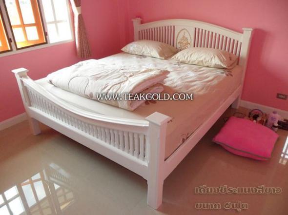 เตียงซี่ระแนงสีขาวแกะลาย_032