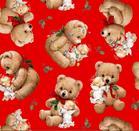 ผ้าอเมริกานำเข้าลาย Christmas Cherubs ขนาด 1/2 หลา