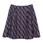 กระโปรงแฟชั่น กระโปรงทำงาน Multicolor Graphic Polka Dot Flare Skirt ผ้าคอตต้อนญี่ปุ่นพิมพ์ลาย POLKA DOT พื้นน้ำเงิน
