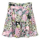 กระโปรงแฟชั่น กระโปรงทรงบาน Graphic Multi Color Flare Skirt ผ้าคอตต้อนญี่ปุ่นพิมพ์ลายกราฟฟิกวินเทจโทนชมพู