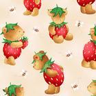 ผ้าอเมริกานำเข้าลาย Strawberry Bears ขนาด 1/2 หลา