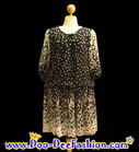 แฟชั่นเสื้อผ้า ชุดเดรสคนอ้วน ชุดเดรสไซส์ใหญ่ จั้มเอว และแต่งโบว์ช่วงเอว สวยมากๆ ค่ะ (อกได้ถึง 47 นิ้ว)