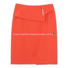 กระโปรงแฟชั่น Diagonal Ruffles Edge Skirt ผ้าไหมอิตาลีสีส้ม ผ้าเนื้อดีใส่สบายค่ะ