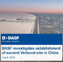 BASF investigates establishment of second Verbund site in China, Investment is estimated to reach up to US$10 billion,by chemwinfo