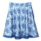 กระโปรงแฟชั่น กระโปรงทรงบาน Lace Flare Skirt ผ้าลูกไม้บุหงาฝรั่งเศส ลายดอกไม้ สีน้ำเงิน