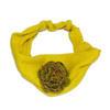 ผ้าคาดผมแฟชั่น สีเหลืองมาสตาส ดอกกุหลาบเขียว เป็นผ้ายืดค่ะ สีสวยมากๆค่ะ