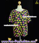 เสื้อลายดอก เสื้อย้อนยุคผู้หญิง เสื้อแหยมผู้หญิง เสื้อแบบแหยม เสื้องานวัด เสื้อทองกวาว (รอบอก 56) (ดูไซส์ คลิ๊กค่ะ)