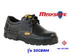 รองเท้าเซฟตี้ หุ้มส้นหนังผิวอัดลายสีดำพื้น PU  SSCB804 (Safety Shoes-รองเท้านิรภัย)