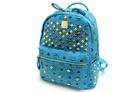 GB-89521-สีฟ้า-ราคาส่ง270ปลีก370บาท-กระเป๋าเป้สไตล์MCM-ไซร์11.5นิ้ว-แต่งอะไหล่ตอกหมุดและซิบเหล็กสีทองอยู่ทรงสวย