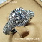 แหวนเพชร 2 กะรัต เกรด7A คัดพิเศษเพชรเจียระไน100เหลี่ยม ตัวเรือนดีไซน์อิตาลี สวยหรูทันสมัย ตัวเรือนเงินแท้ 92.5%ชุบทองคำขาว