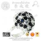 SR145 แหวนพลอยรูปเต่าขาวดำ (เงิน 92.5%)