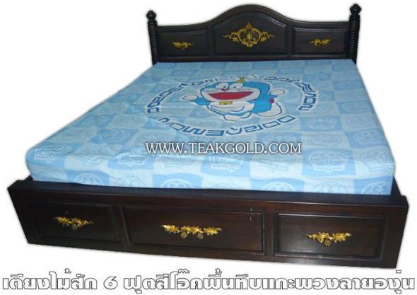 เตียงไม้สักสีโอ๊คพื้นทึบ_017
