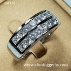 แหวนเพชรแถวเม็ดละ 10 ตัง เรียง2แถว ดีไซน์เรียบหรู ทันสมัย ตัวเรือนเงินแท้ 92.5%ชุบทองคำขาว