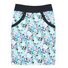 กระโปรงแฟชั่น มีกระเป๋า Pocket Contain Botton Point Skirt ผ้าคอตต้อนญี่ปุ่นผสมเนื้อสเปนเด็กส์ พิมพ์ลายดอกไม้โทนฟ้า