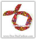 ผ้าคาดผมหูกระต่าย โครงลวดดัดคาดผม ผ้าคาดผมลวดดัด Ribbon Bunny wire headband (ผ้าคาดผมสีแดง) (ดูไซส์ คลิ๊กค่ะ)