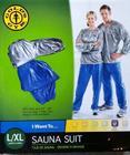 The Gold�s Gym Sauna Suit ชุดเร่งการเผาผลาญ ใช้ใส่ออกกำลังกาย โยคะ หรือ RELAX สามารถใส่ได้ตลอดเวลา...นิยมสุดที่ญี่ปุ่นมาไทยแว้ว (สีเทา/น้ำเงิน) M/L