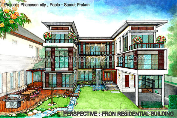Perspective : Fron Residential Building