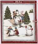 ผ้าอเมริกาลาย Snowman สีแดง