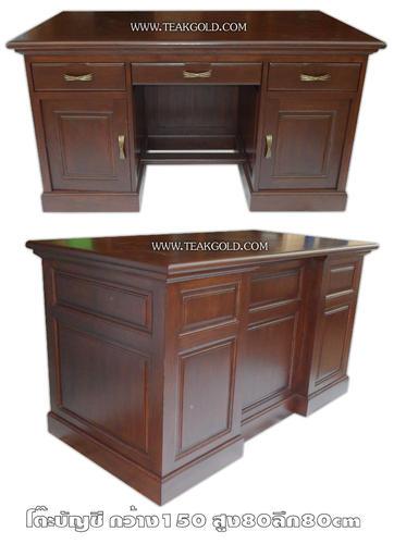 โต๊ะทำงานไม้สักแบบเรียบสีโอ๊ค_007