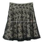 กระโปรงแฟชั่น กระโปรงทรงบาน Lace Flare Skirt ผ้าลูกไม้บุหงาฝรั่งเศส ลายดอกไม้ สีดำ