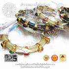 กำไลข้อมือเงินฝังพลอยนพเก้าหางช้างเงินชุปทอง(น้ำหนักโดยประมาณ31.0กรัม)(วงรอบ1.6นิ้วจีน) เงิน92.5%