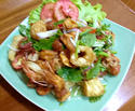 ืNO. SS12 ยำสามกรอบ (Spicy crispy squid , fish maw and cashew-nut salad)