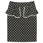 กระโปรงแฟชั่น กระโปรงระบาย Color Trim Detail Beautiful Skirt ผ้าคอตตอนญี่ปุ่นพิมพ์ลาย Polka Dot พื้นดำจุดขาว