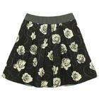 กระโปรงแฟชั่น กระโปรงทำงาน Rose Flower Flared Skirt กระโปรงลายดอกกุหลาบขาวพื้นดำ {งานตัดเย็บคุณภาพ}