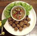 NO. DF13 ลาบหมูทอด (THAI DEEP FRIED SPICY MINCED PORK)