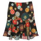 กระโปรงแฟชั่น กระโปรงทำงาน Graphic Print Hi Lo Tulip Skirt ผ้าคอตตอนญี่ปุ่นพิมพ์ลายวงกลมกราฟฟิคแฟนซี