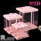 กล่องเค้กปอนด์ pvc+ฐาน+ฝา  สีชมพู