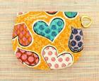 กระเป๋าสตางค์ หนังแก้วสีส้ม ลายหัวใจ ทรงครึ่งวงกลม ซิปลื่น รูดเปิดสะดวก
