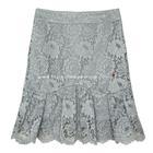 กระโปรงแฟชั่น-ทำงาน Striped Ruffle Skirt ผ้าลูกไม้เนื้อนิ่มสีเทา